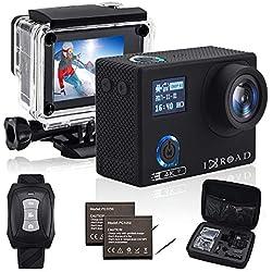 IXROAD Caméra Sport 4K 20MP WiFi Action Cam Appareil Photo Étanche avec Gyro Stabilisateur Angle Réglable Time-Lapse Télécommande 2 Batteries Étui de Transport et Accessoires (Noir)