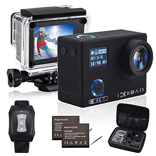 IXROAD Action Cam 4K 20MP WiFi Sport Camera Fotocamera Telecamera Videocamera Subacquea con Gyro Stabilizzatore Angolo Regolabile Time Lapse Telecomando Valigetta 2 Batterie e Accessori (Nero)