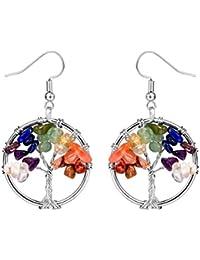 f9fd1e2af819 FOCALOOK Collar Pendientes Conjunto del Árbol de la Vida Símbolo de Chakra  con Cristal
