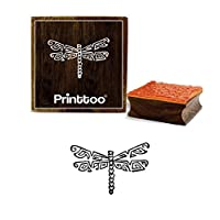 Printtoo Dragonfly Design Square Wooden Rubber Stamp Block Scrap-Booking-2 x 2 Inches