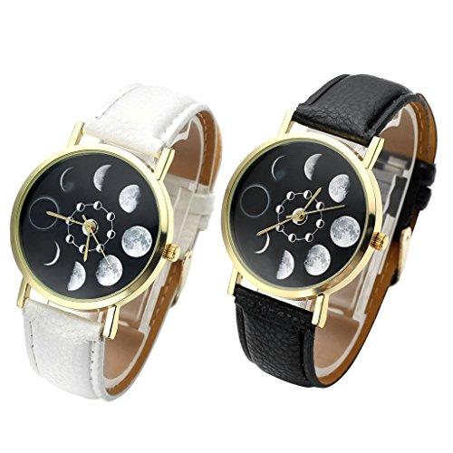 JSDDE Uhren,Fashion Damen Mondfinsternis-Muster Armbanduhr kein-Zifferskala Damenuhr Lederarmband Analog Quarzuhr,Schwarz - 6