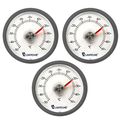 Lantelme 6287 Universal Thermometer 3 Stück Set - Mit Bimetall Federelement und Analoger Temperaturanzeige Kunststoff Farbe grau