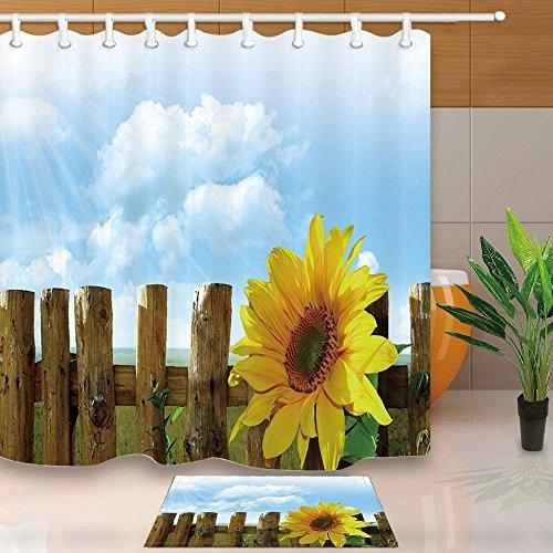 CDHBH Anlage Duschvorhang von Village Farm Sonnenblume Holzzaun Sky Serenity 180,3x 180,3cm Schimmelresistent Duschvorhang Set mit 39,9x 59,9cm Flanell Rutschfeste Boden Fußmatte Bad Teppiche