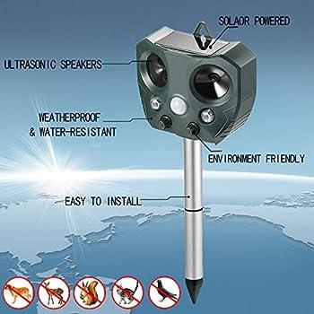 ZEERKEER Ultrasonics Répulsif pour Animaux et Antiparasitaires avec LED, Charge Solaire, Extérieur, Résistant à l'eau, Répulsif de Rat pour Chats, Chiens, Oiseaux, Renards et Autres