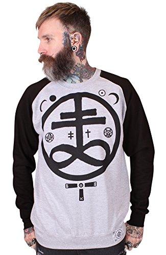 Bear Knuckle Brawlers Baseball Raglan Sweatshirt für ihn Devil grau / schwarz M (JH33) (Herren Baseball Hugs Free)
