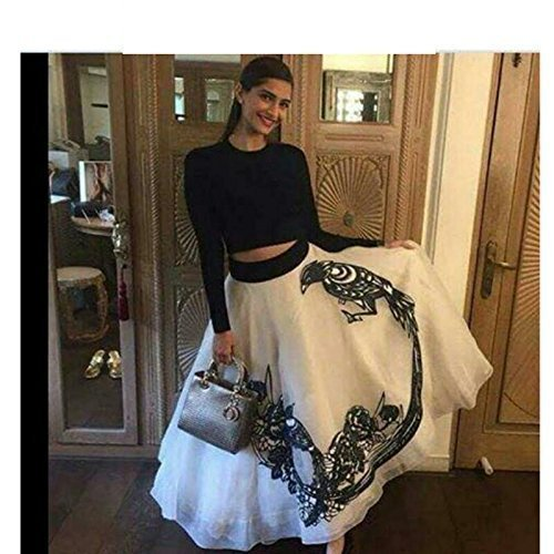 Manan Creation Women's Georgette Gown (Sonam Kapoor Cholis_Black And White_Free Size)