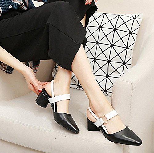 Frühling kleiner quadratischer Kopf rau mit den Wort cingulären Schuhe mit hohen Absätzen Sandalen Black