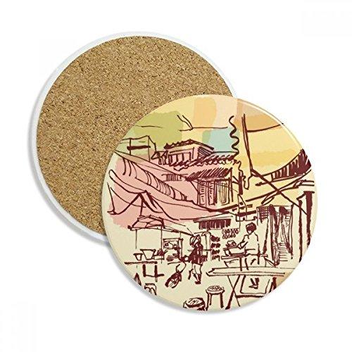 DIYthinker Kurzes Strokes Thailand Prosperous Dorf Stein Getränk Keramik-Untersetzer für Becher-Schalen-Geschenk 2pcs Mehrfarbig Dorf-becher