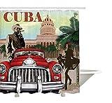 Yeuss Cortina de Ducha Cuba, Turismo Rural, Tema de diseño de época Cigar Smoking Man and Dancing Girl, Juego de decoración de baño en Tela de Tela con Ganchos