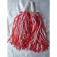 5pares de pompones de animadora, color rojo y blanco