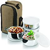 Office Lunch Tiffin Box Leakproof Stainless Steel Lunch Carrier Box Set Of 4 Container + 1 Spoon Office Lunch Breakfast Food Carry Box Tiffin Pouch For Officers / Students Jayco Nylon Zip 300ml / 20cm 4-Pieces MULTI Assorted Color