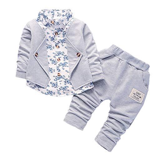 XXYsm Baby Jungen Bekleidungsset Tops + Hosen Taufe Kleidung Gentleman Outfits Hochzeit Smoking Set Grau ❤90/12-18 Monate