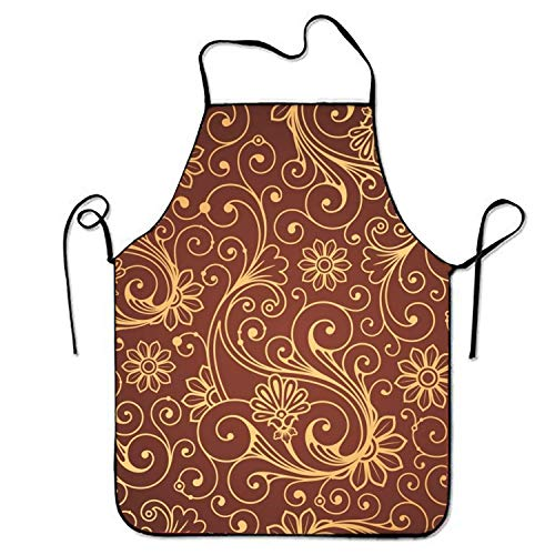 SPHGdiy Floral Patterns Premium Quality Aprons Adjustable Bib Apron Floral Vintage Bib