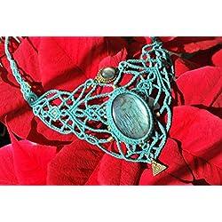 Collar macrame Labradoritas artesanal de color turquesa