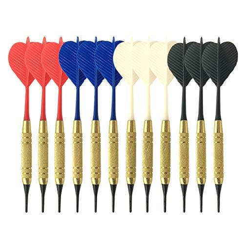 Viesky Elektronische Kunststoff-Dartscheibe Home Bar zufällige Farbe 12 Stück/Set Soft Nylon Tip Dartpfeile PC Schaft