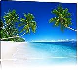 Palmen über dem Meer Format: 80x60 auf Leinwand, XXL riesige Bilder fertig gerahmt mit Keilrahmen, Kunstdruck auf Wandbild mit Rahmen, günstiger als Gemälde oder Ölbild, kein Poster oder Plakat