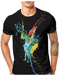 0ee3d0372 LuckyGirls Camisa Camisetas Originales Hombre Manga Cortos Verano Acuarela  Deportivas Blusa Moda Polos Casuales Slim Músculo