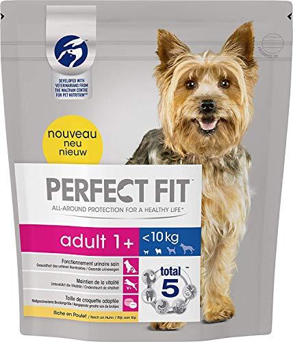 Perfect Fit Hundefutter Trockenfutter Adult für kleine Hunde <10 kg 1+ reich an Huhn, 4 Beutel (4 x 1,4 kg)