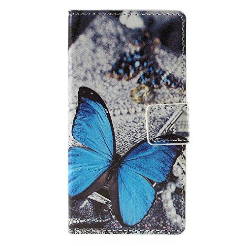 [A4E] Handyhülle passend für Sony Xperia Z5 Compact Kunstleder Tasche Hülle Schutzhülle, mit Magnetverschluss, Ständerfunktion, Kreditkartenfächer, mit Schmetterling Muster / Design, PVC Schale (blau, schwarz, weiß)