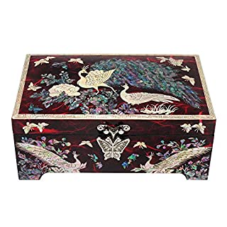 Majestic Peacock Jewelry Box Traditional Red Wood Illustration Mother of Pearl by Antique Alive Boite a Bijoux