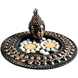 Unique Arts Beautiful Buddha TeaLight Holder With Round Wooden Plate For Diwali Gift And Home Decor