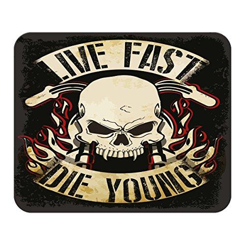 Mauspad Motorrad Garage Live Fast Die Young bedruckt