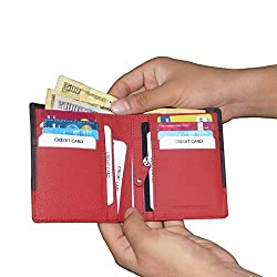 Black & Red Unisex Leather Wallets with 8 Credit Card Holder