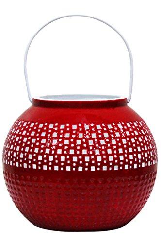 Farol portavelas oriental de metal - Candelabro para el jardín - Decorativo para la mesa - Bamika Rojo - transmite buen ambiente - pasa un buen rato en el jardín