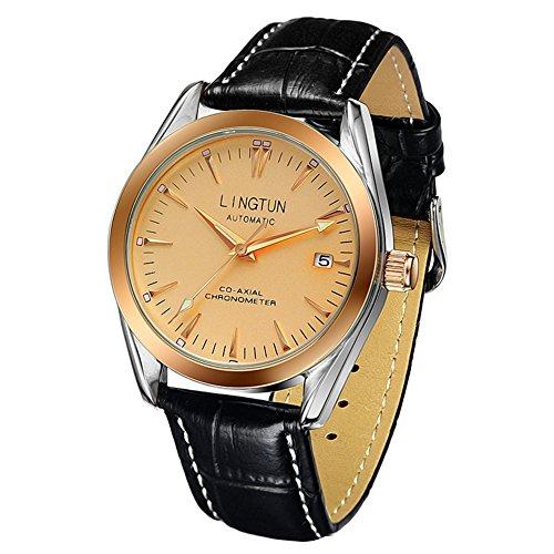 Analoge Uhr,Business Mode Casual nachtlicht Leder Armband Classic kalenderfenster für Indoor und Outdoor-aktivitäten-H