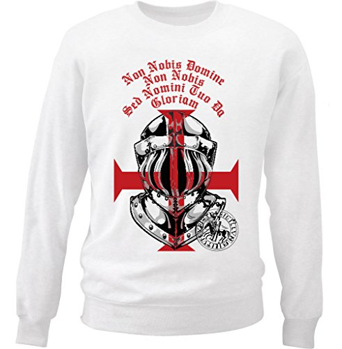 Teesquare1st Men's KNIGHTS TEMPLAR HELMET White Sweatshirt