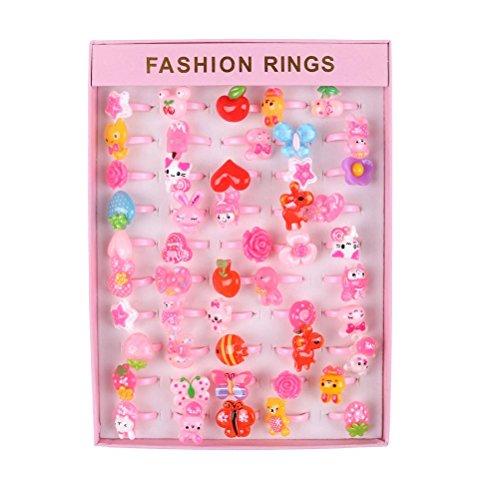 BraveWind Clip-on-Ohrclips für Mädchen mit Box in Herz-Form, für Kinder, Kleinkinder, kleine Mädchen, Party, Gastgeschenk Jewel Rings