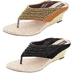 Thari Choice Women's Wedges Sandal Combo Pack (Ind/Uk-6, Black and Copper)………. SKU : MTCOM MSN BK+CPR-6