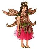 Deluxe Fee Fasching Halloween Karneval Kinder Mädchen Kostüm Kleid + Flügel (134-140)
