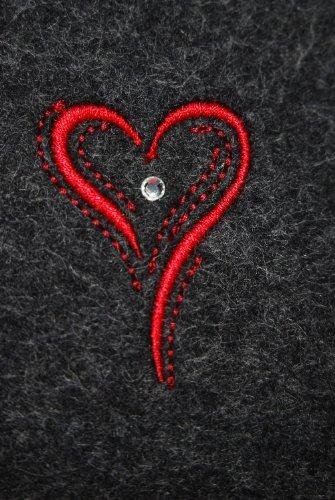 Custodia in feltro per iPhone5, antracite, motivo: cuore, feltro borsa, cover appositamente per iPhone5, di alta qualità ricamato e impreziositi con un originale cristalli Swarovski, 100% feltro di la Stickfarbe rot