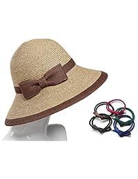 cuddty Bowknot Cap sombrero Panamá para mujer plegable verano mujeres sol visera gorro de viaje playa senderismo Headwear, mixed coffee