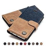 QIOTTI - Galaxy S6 Tasche Leder Case I Ledertasche Kartenfach Echtleder Hülle Lederhülle Ledercase Handyhülle Echtledertasche in Denim Braun