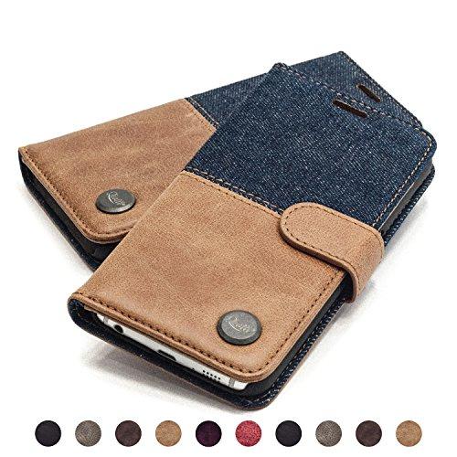QIOTTI Hülle Kompatibel mit Galaxy S6 Edge Ledertasche aus Hochwertigem Leder mit Kartenfach Handyhülle Tasche in Denim Braun