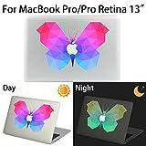 MacBook Pro/Pro Retina Aufkleber, AKPATI Haut Aufkleber Removable Leuchtender Aufkleber Skin Laptop Decal Sticker Abdeckung Abziehbild für MacBook Pro/Pro Retina 13 Zoll - Butterfly #2 Pattern