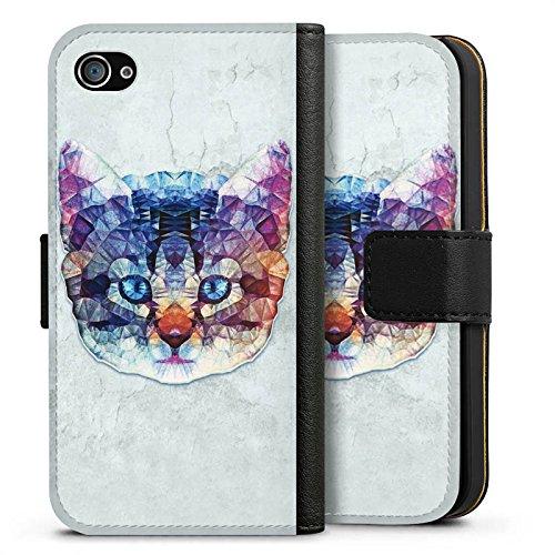 Apple iPhone X Silikon Hülle Case Schutzhülle Rainbow Cat Katze Kitten Sideflip Tasche schwarz