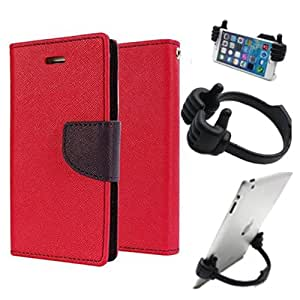 Aart Fancy Diary Card Wallet Flip Case Back Cover For Lenovo A7000 - (Red) + Flexible Portable Mount Cradle Thumb Ok Stand Holder By Aart store