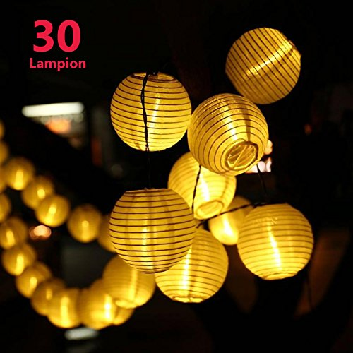 Lampion Lichterkette Batterie, Genmer Outdoor Lichterkette LED Warmweiß Lampion Batterienbetriebene 30 LEDs, Wasserdichte Lichterkette für Party, Garten, Haus, Feiern [Energieklasse A+++]