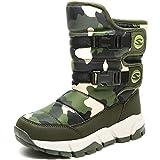Winterstiefel Mädchen Winterschuhe Kinder Schneestiefel Stiefel Jungen Warm Gefüttert Schlupfstiefel Boots Winter Schuhe für Unisex-Kinder Outdoor Armee-grün,EU28