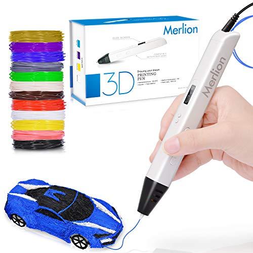 3D Stylo pour les enfants, 3D stylo avec un baquet de 12 filaments PLA de 1,75 mm, chaque couleur, 10 pieds, 3D stylo d'impression avec...