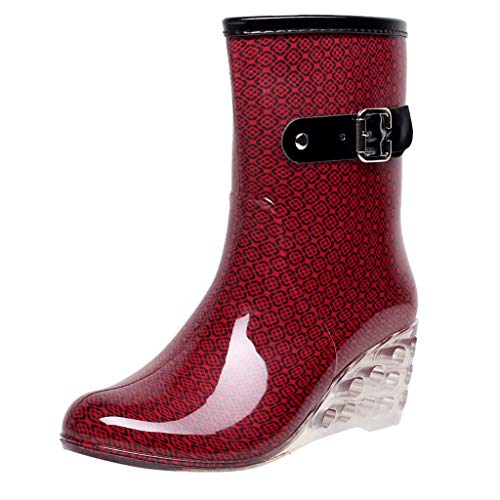Botas Punk para mujer De Nieve y lluvia Estilo Punk TamañO Grande Zapatos con CuñA Transparentes Zapatos De Goma Antideslizante Zapatos De Agua Calzado Industrial ConstruccióN(Rojo,38EU)