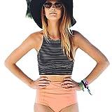 SHOBDW Neueste Womens High Waist 2 Stück Streifen Bikini Spa Badeanzug Badeanzug (M, Schwarz)