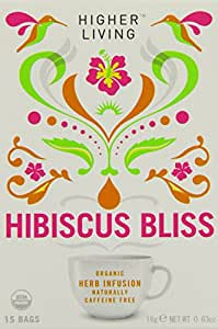 Higher Living Organic Hibiscus Bliss 15 Teabags (Pack of 6, Total 90 Teabags)