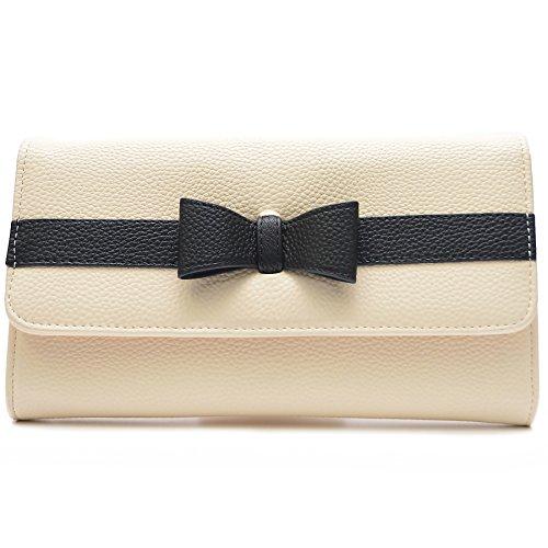Vain Secrets© Abendtasche Clutch mit Schulterriemen und Handschlaufe (25 cm Lang - 15 cm Hoch - 5 cm Breit, Beige) -