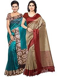 Rajnandini Women's Tussar Silk Printed Saree(JOPLNB3017B-3011C_Teal And Beige_Combo Of 2)