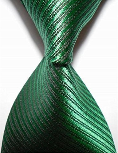 New Striped Green Jacquard Woven Men's Tie Necktie by F&T Woven Mens Tie