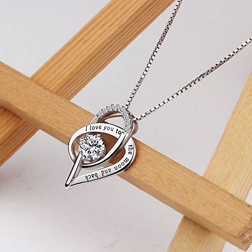Viyino Jewelry 925 Sterling Silver Cubic Zirconia I Love You To The Moon and Back Love Heart Pendant Necklace 18